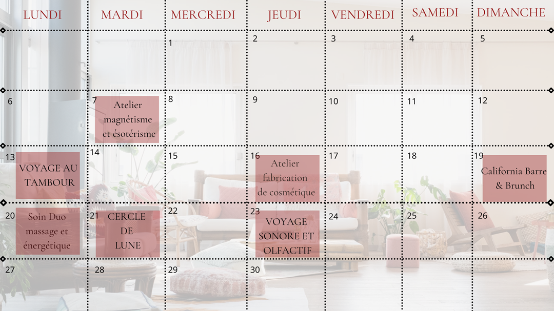 planning du mois